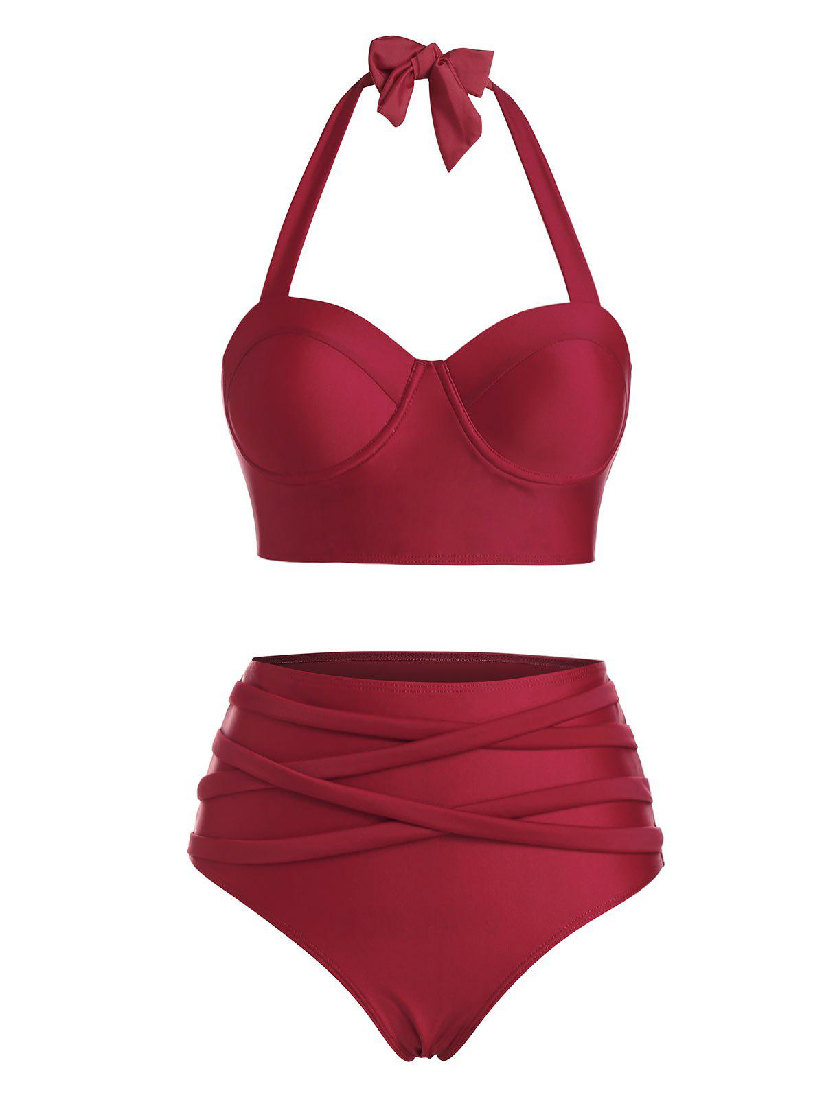 Halter Crisscross High Waisted Bustier Tankini Swimwear - DEEP RED 2XL