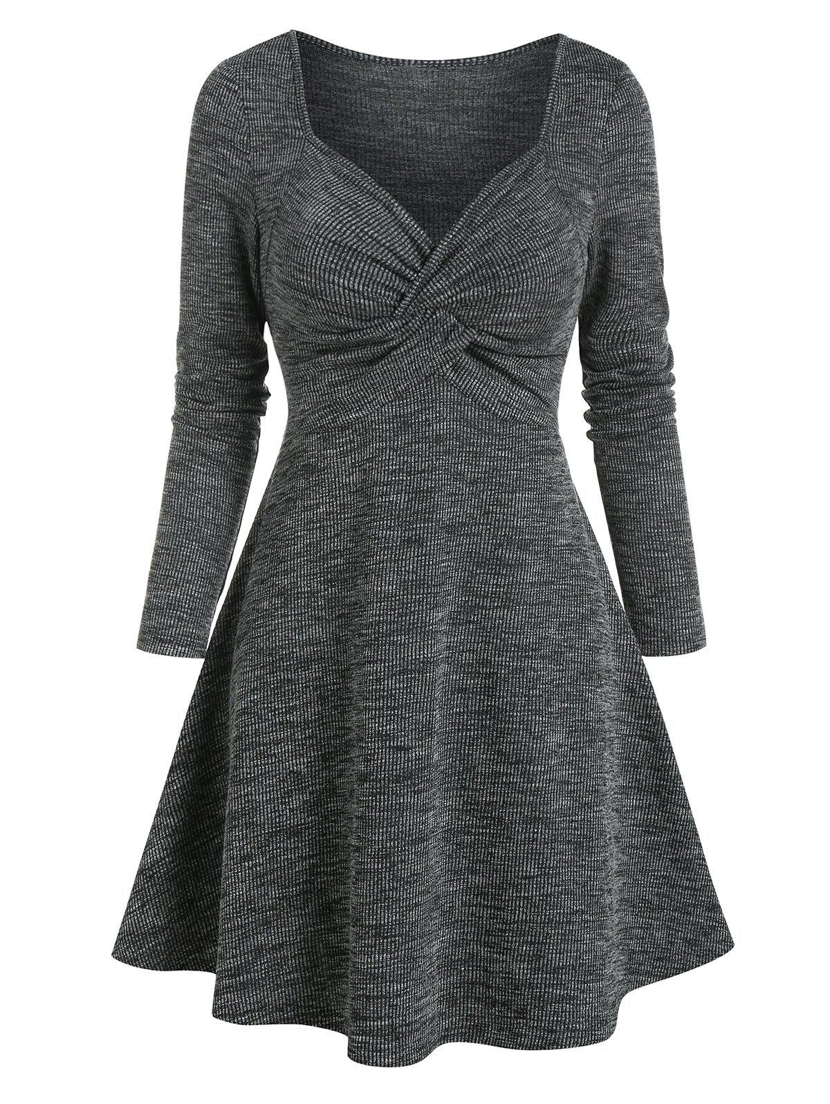 Twist Front Long Sleeve Heathered Ribbed Dress - ASH GRAY 3XL