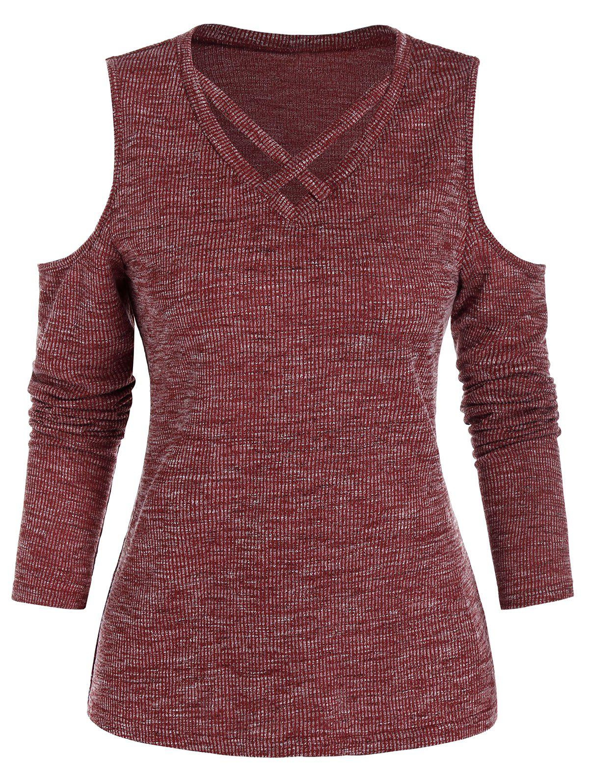Cold Shoulder Criss-cross Ribbed Heathered T-shirt - RED WINE 3XL