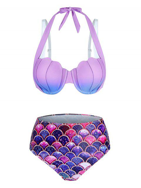 Ombre Mermaid Print Shell Pattern Bikini Set