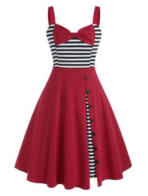 Buttoned Bowknot Striped Panel 1950s Dress