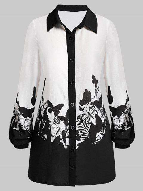 Plus Size Button Up Long Sleeve Butterfly Print Blouse