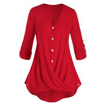Plus Size Crossover Roll Up Sleeve Tunic Blouse