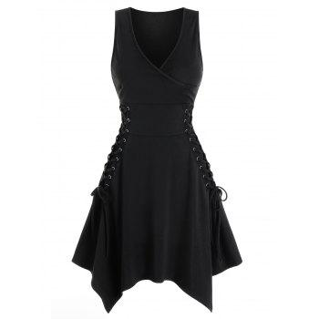 Sleeveless Side Lace-up Handkerchief Gothic Dress