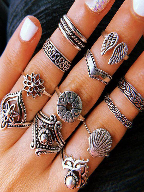 14Pcs Retro Hollow Floral Wings Carved Ring Set - SILVER