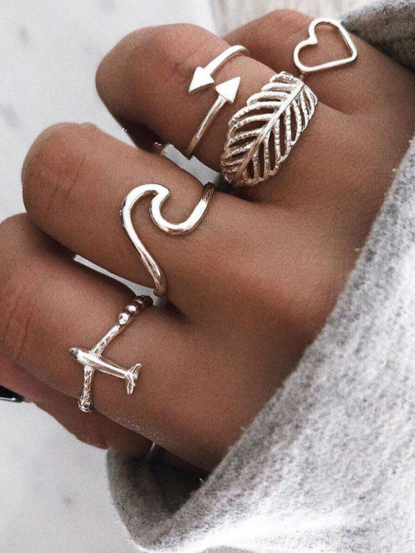 Leaf Heart Plane Shape Rings Set - SILVER