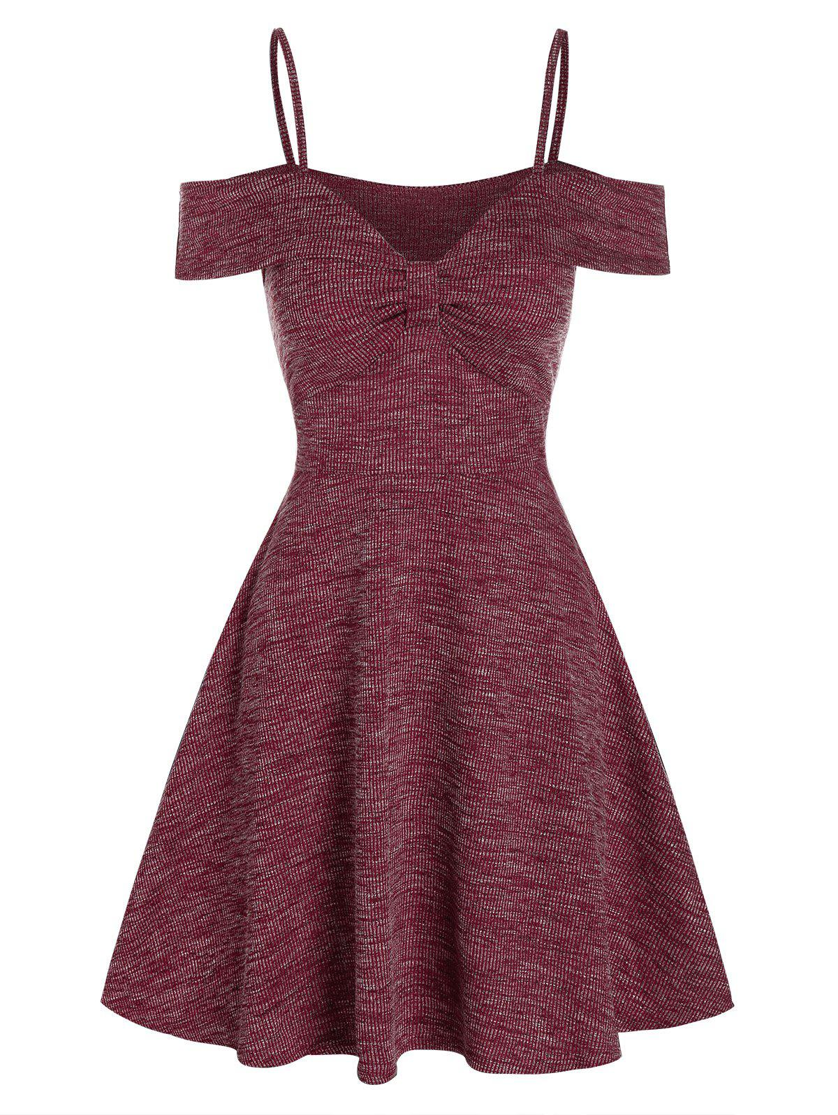 Cold Shoulder Textured Mini A Line Dress - RED WINE M