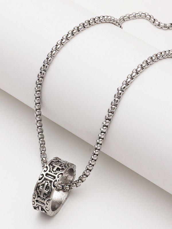Engraved Cross Pattern Ring Pendant Chain Necklace - SILVER