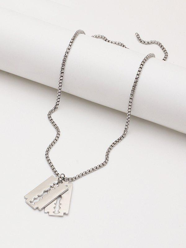 Double Blade Pendant Chain Necklace - SILVER