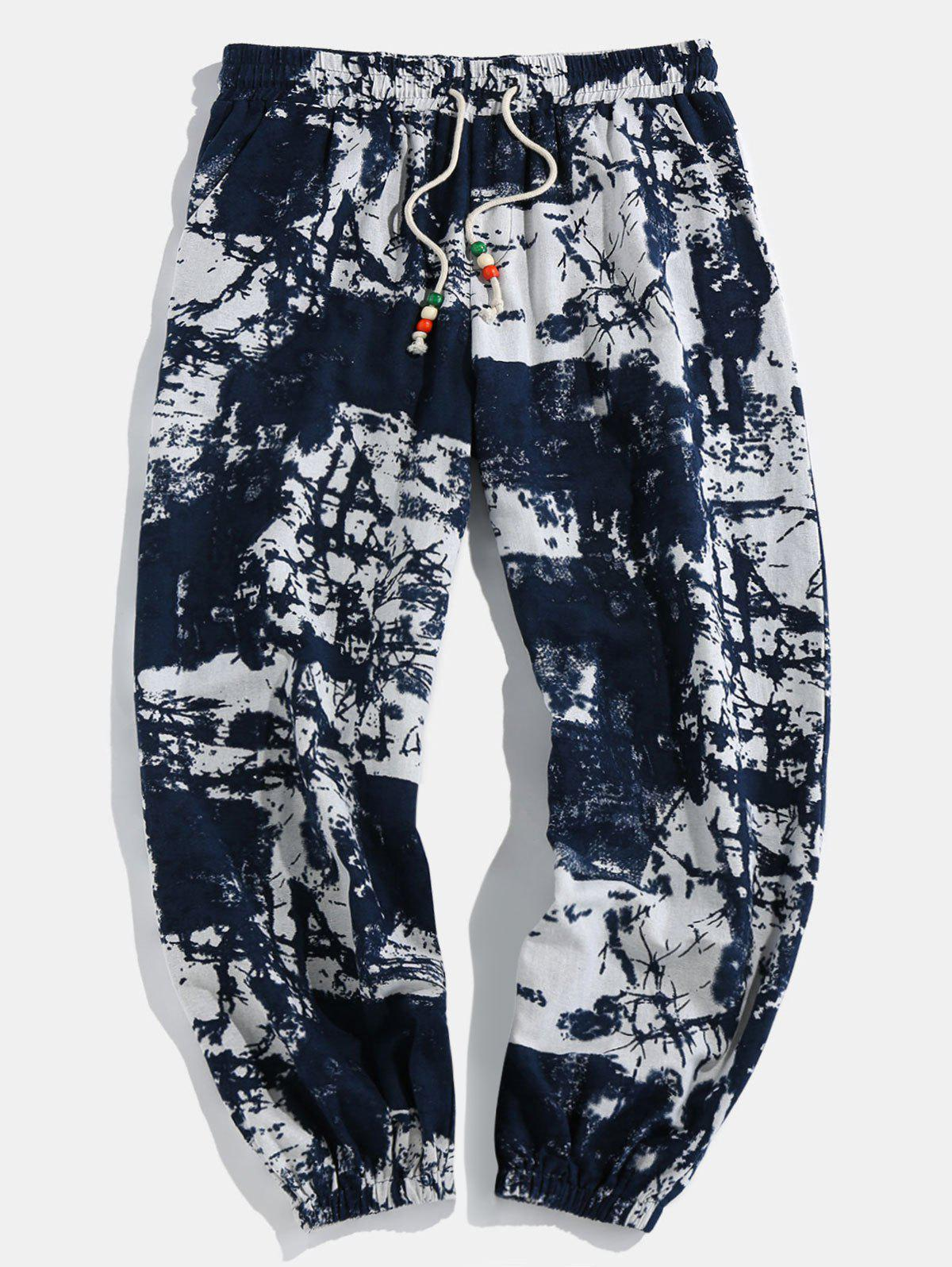 Tribal Ink Painting Print Jogger Pants - BLUE M