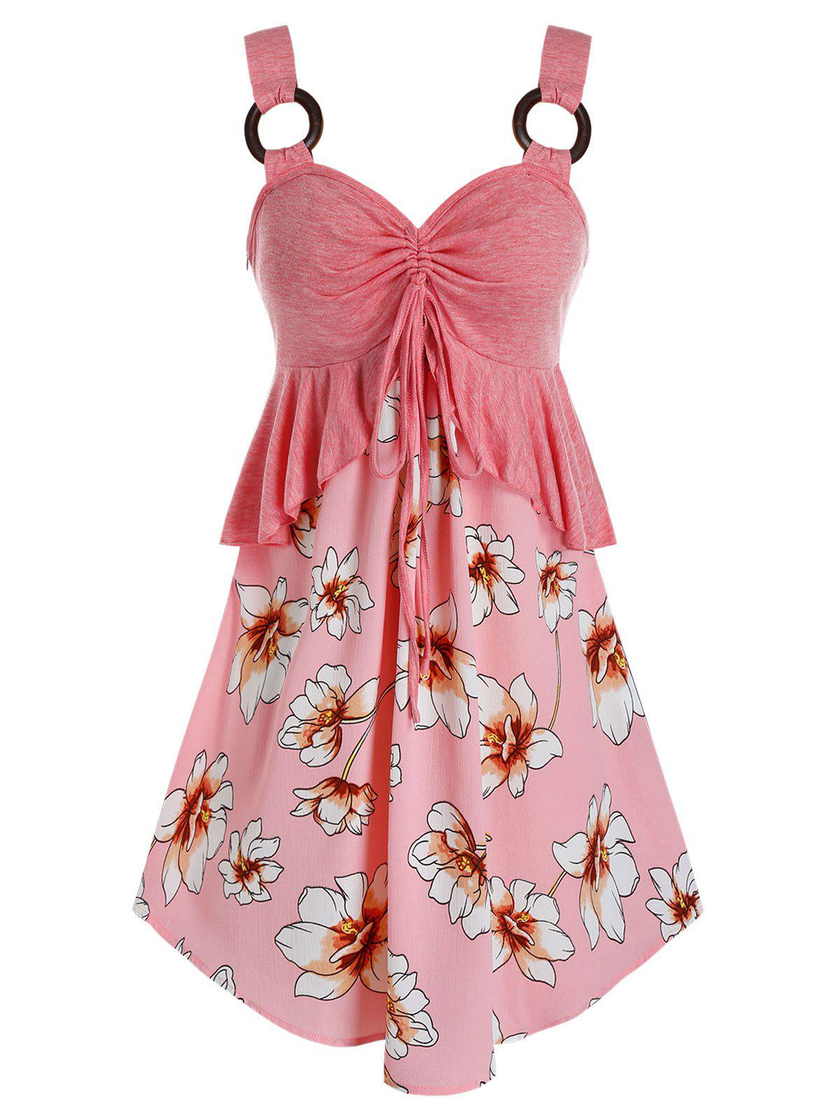 Plus Size Flower Print Cinched Peplum Curved Tunic Tank Top - PINK L