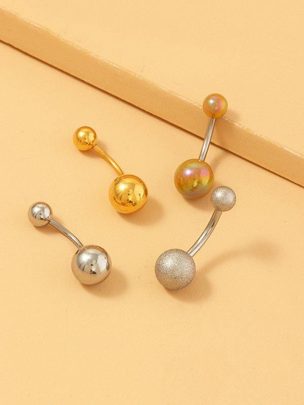 4Pcs Brief Stainless Steel Navel Ring Set - multicolor A