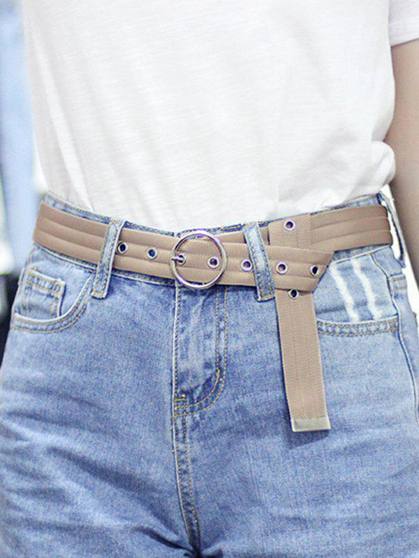 O Ring Canvas Round Buckle Belt - BEIGE