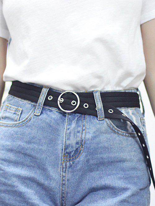 O Ring Canvas Round Buckle Belt - BLACK
