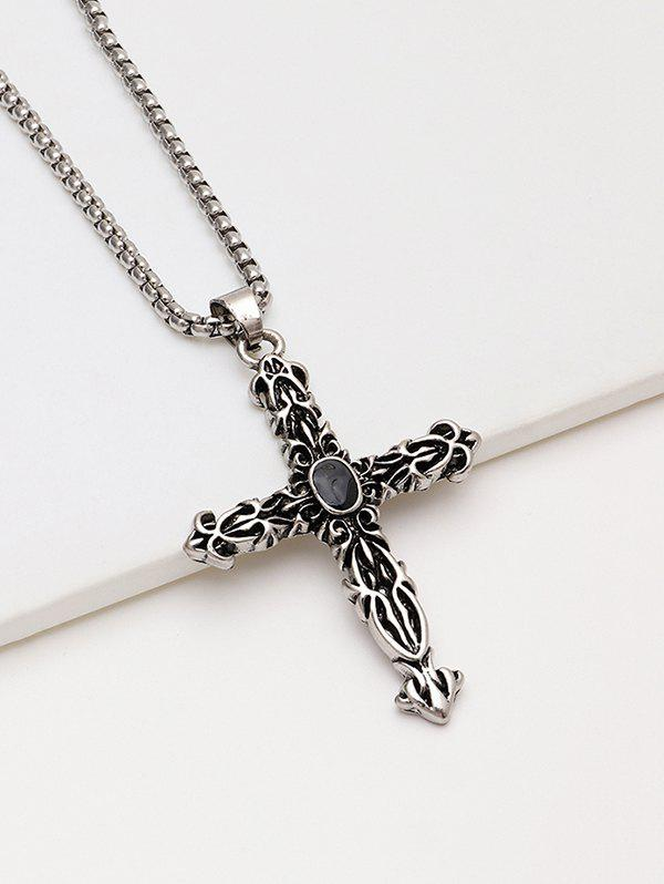 Engraved Cross Pendant Chain Necklace - SILVER