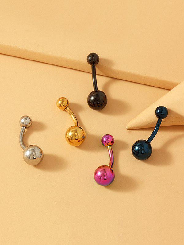 5Pcs Stainless Steel Solid Navel Ring Set - multicolor A