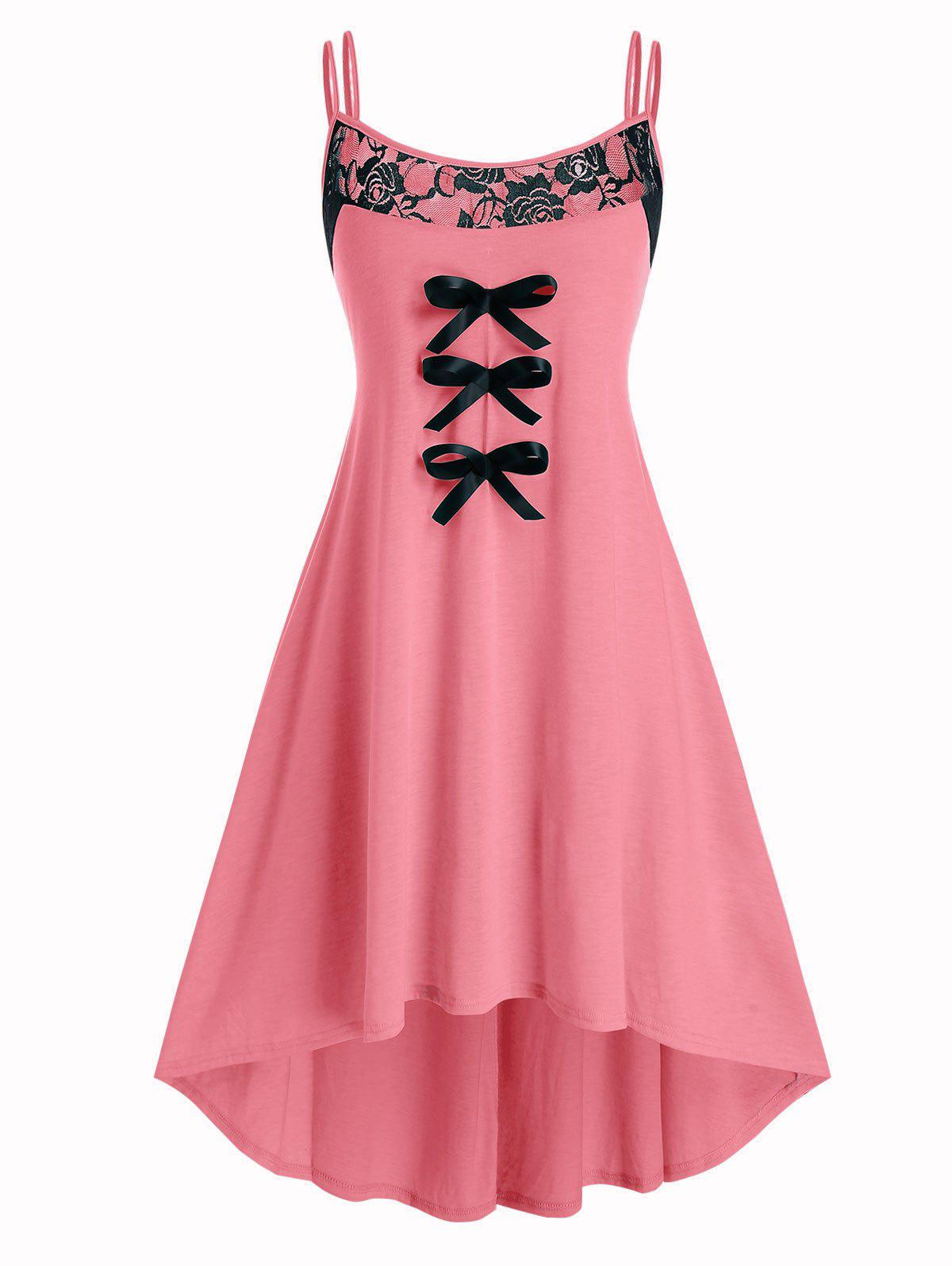 Plus Size Bowknot Floral Lace Panel Dress - LIGHT CORAL L