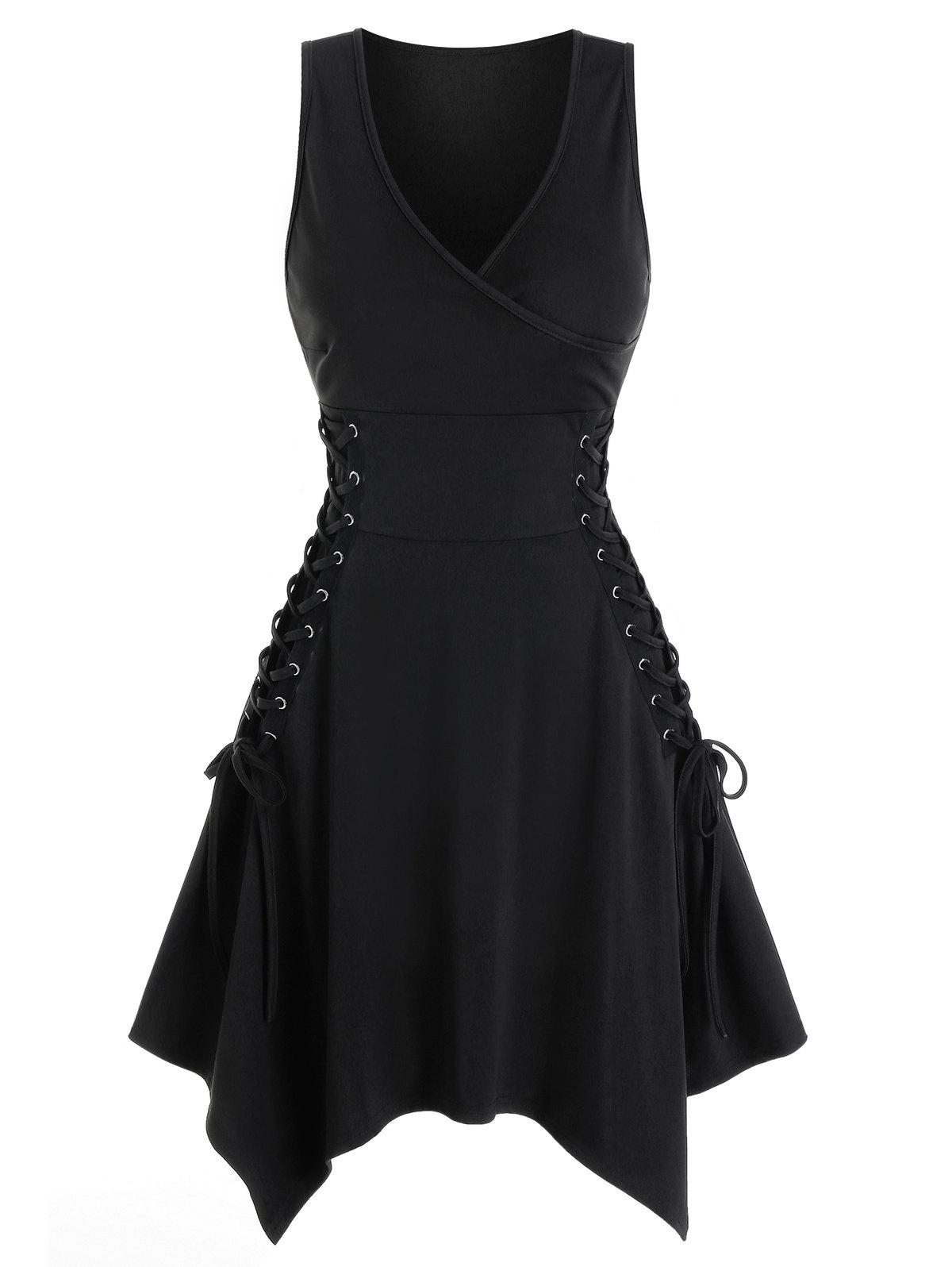 Sleeveless Side Lace-up Handkerchief Gothic Dress - BLACK L