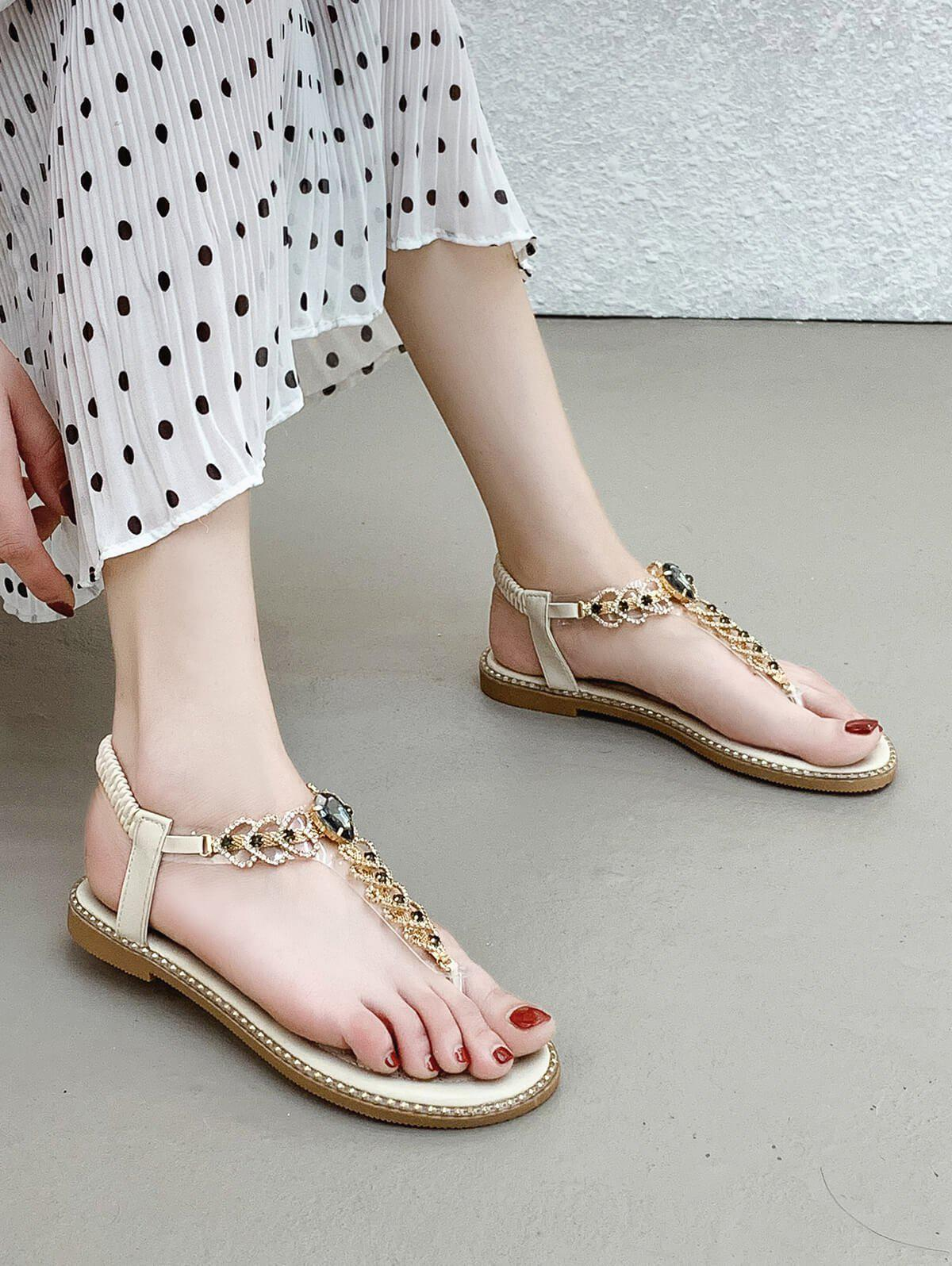 Rhinestone Heart Toe Post Flat Sandals - BEIGE EU 38