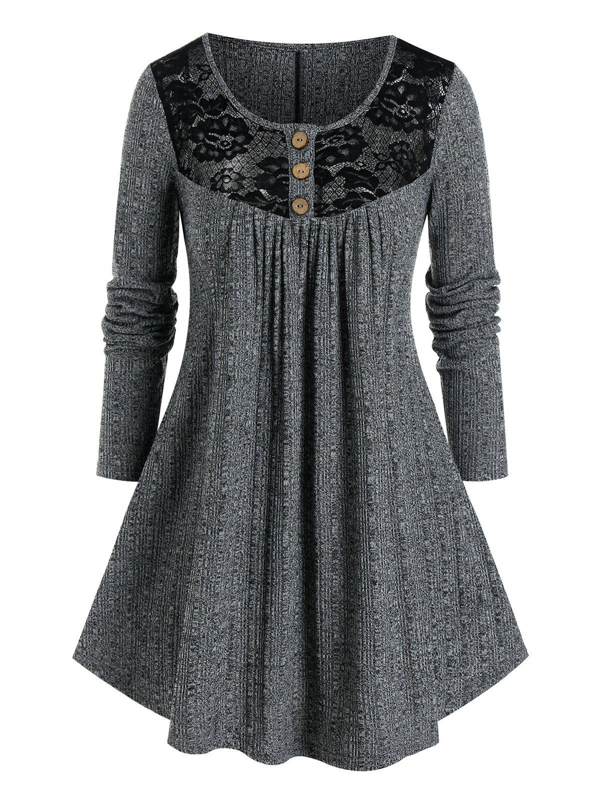 Plus Size Lace Panel Yoke Marled Tunic Sweater - SMOKEY GRAY 1X