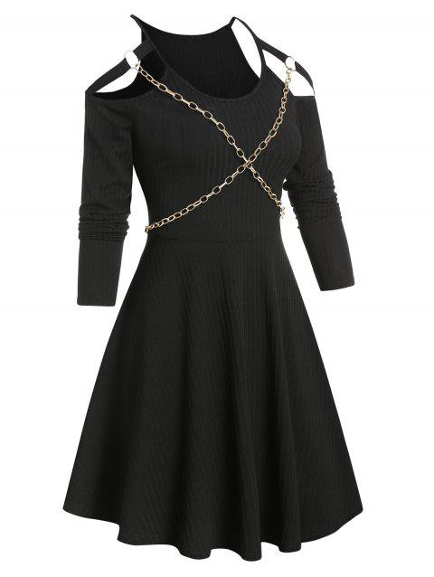 Chain Detail Cold Shoulder Ribbed Gothic Dress