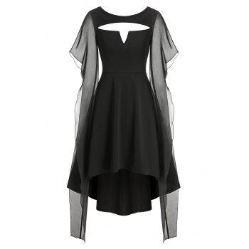 Cut Out V-notched High Low Gothic Dress