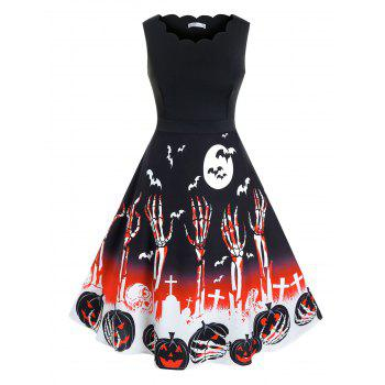 Plus Size Halloween Skull Pumpkin Pattern Scalloped Dress