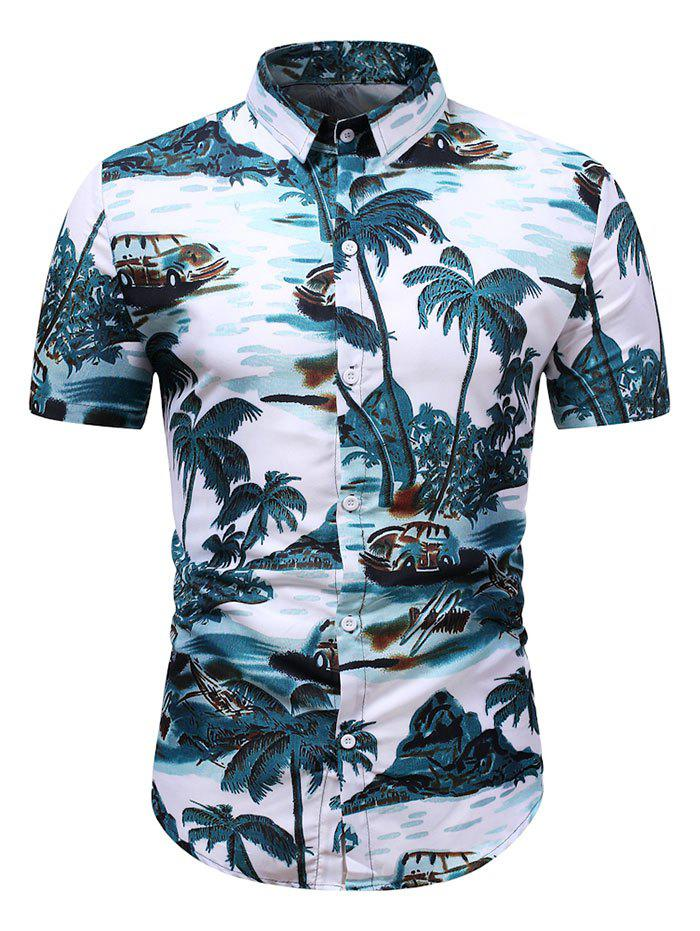 Coconut Tree Landscape Print Hawaii Shirt - GREENISH BLUE M