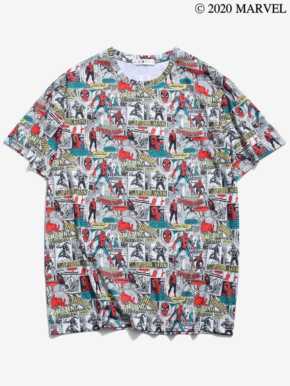 Marvel Spider-Man Comic Pattern T-shirt - multicolor S