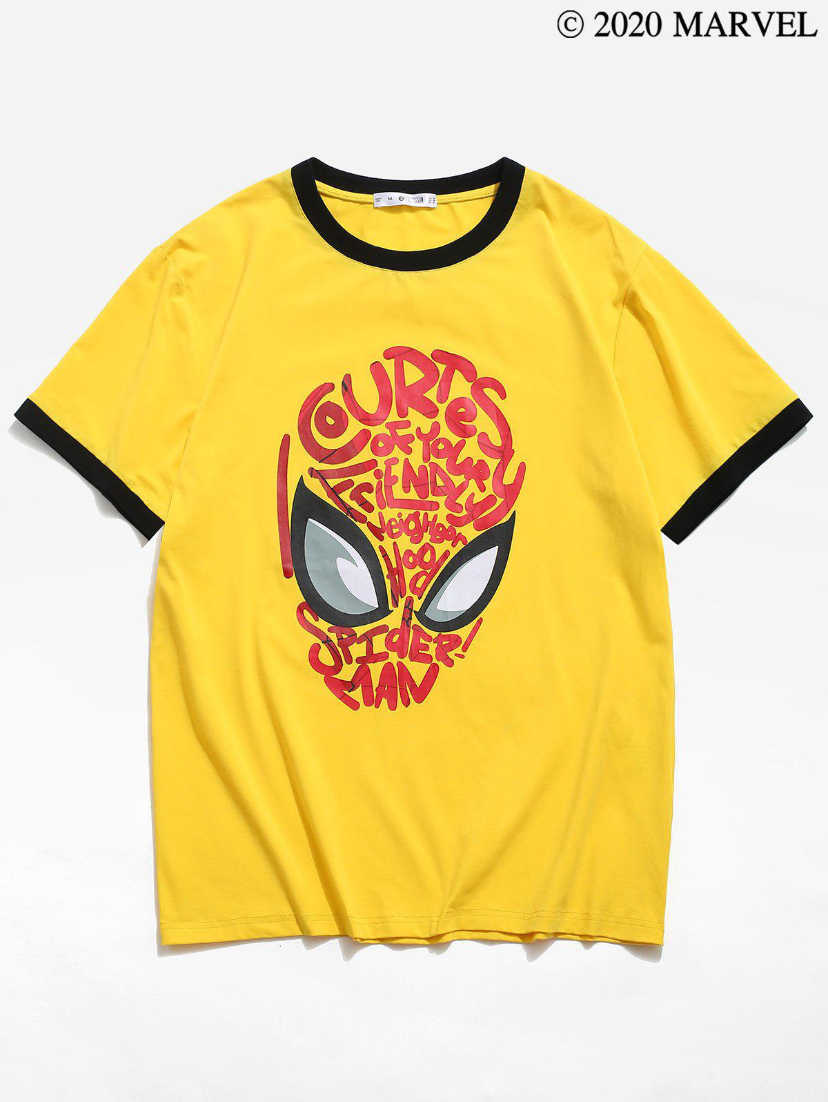 Marvel Spider-Man Mask Graphic Ringer T-shirt - YELLOW 2XL