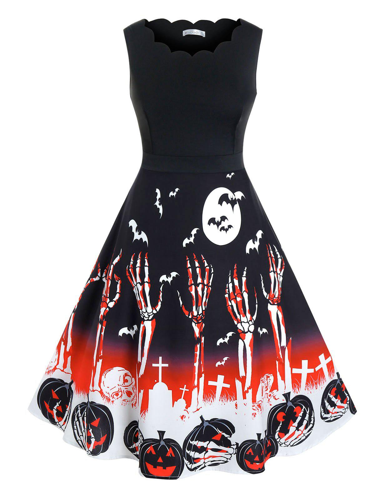 Plus Size Halloween Skull Pumpkin Pattern Scalloped Dress - BLACK L