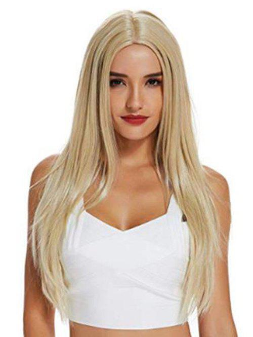 Long Straight Center Part Blonde Synthetic Wig - GOLDEN
