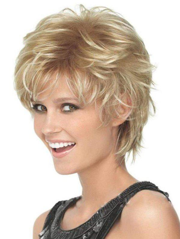 Short Fluffy Slightly Curled High Temperature Synthetic Wig - GOLDEN