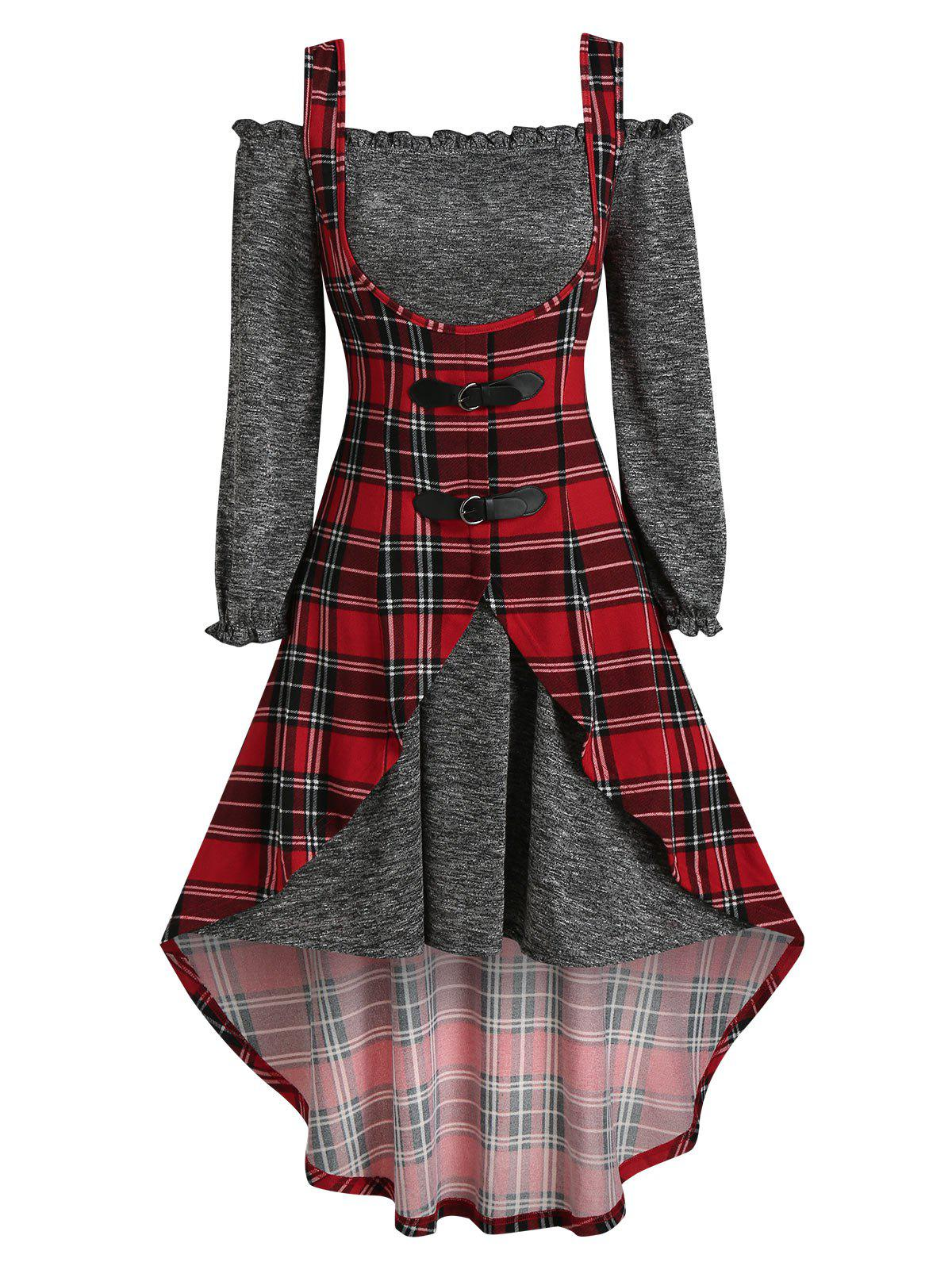 Off The Shoulder Heathered Dress and Plaid Print Buckle Strap Vest - RED M