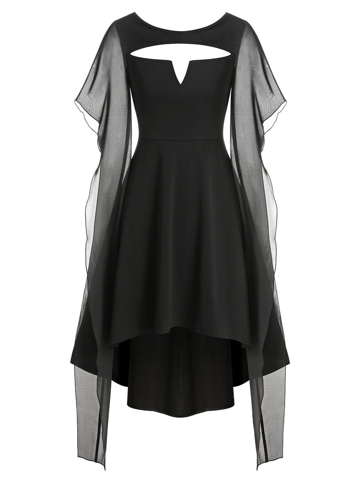 Cut Out V-notched High Low Gothic Dress - BLACK M