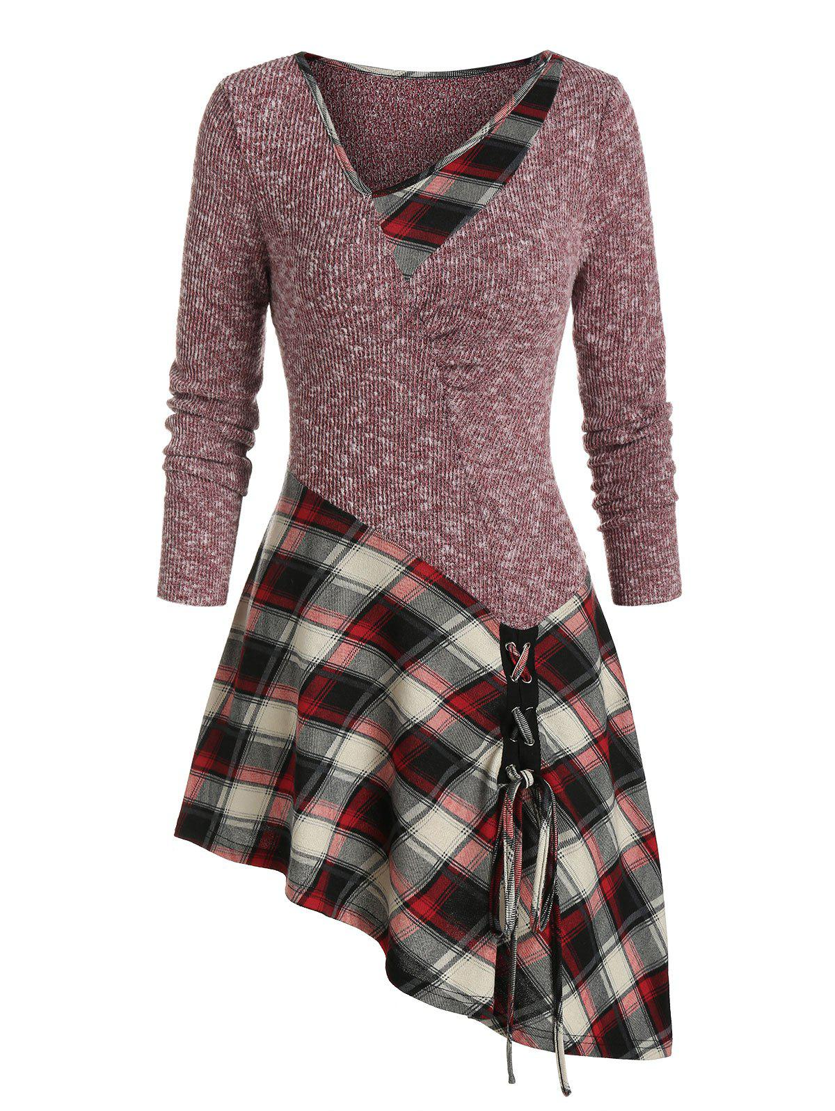 Plaid Print Lace-up Asymmetric Sweater - RED WINE L