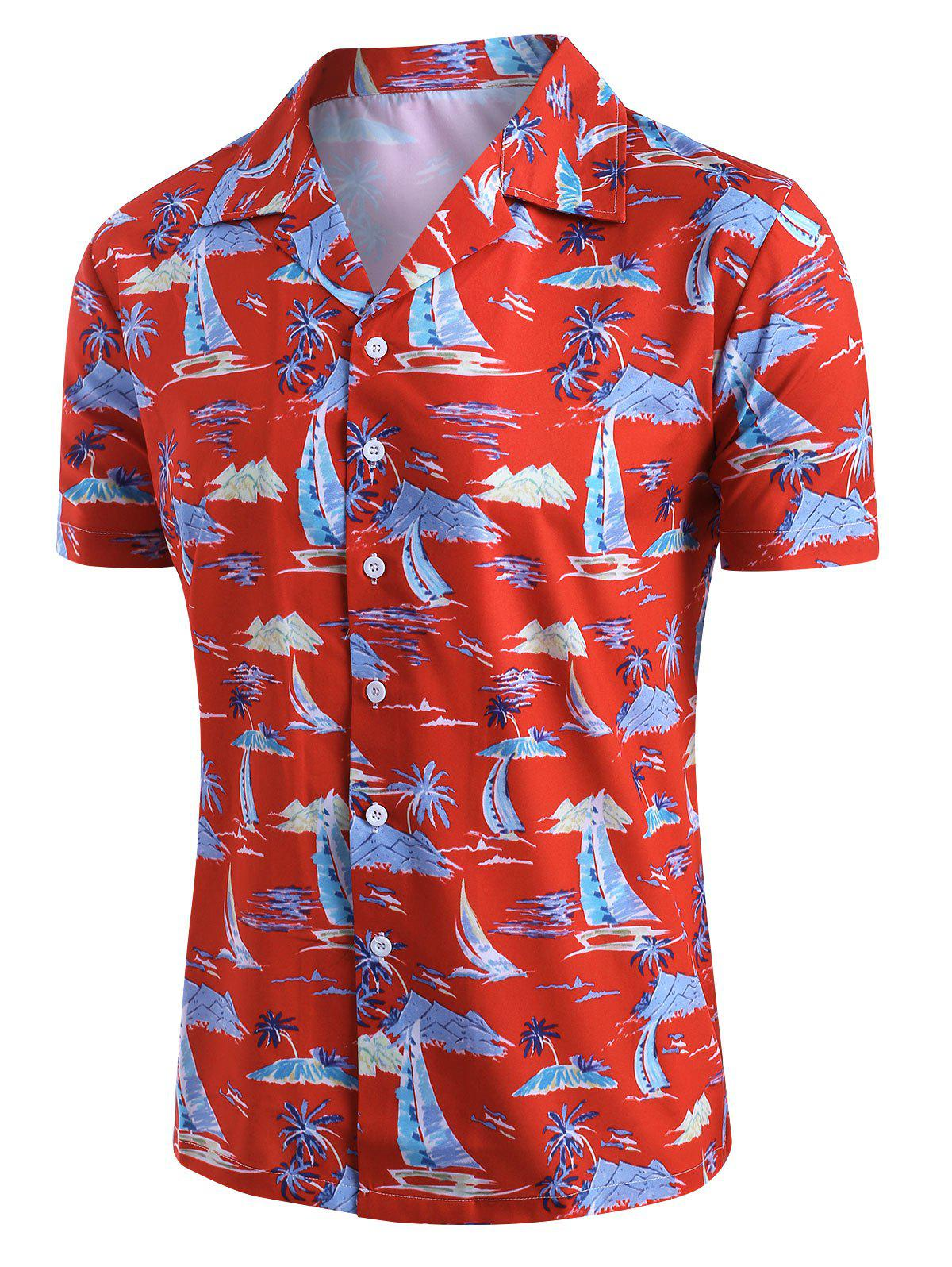 Palm Tree Sailboat Print Button Up Hawaii Shirt - multicolor S