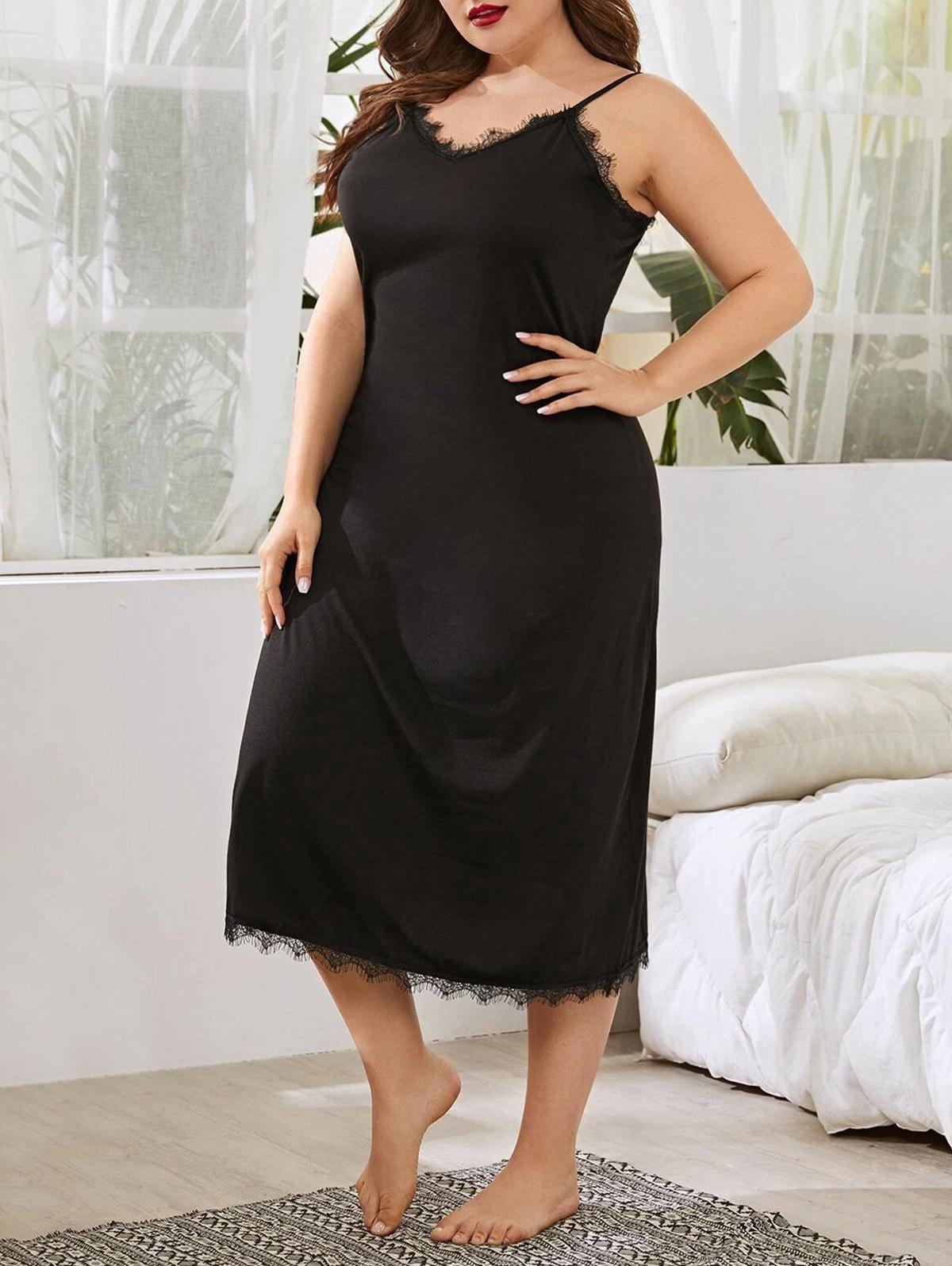 Plus Size Eyelash Lace Trim Cami Pajamas Dress - BLACK 4XL