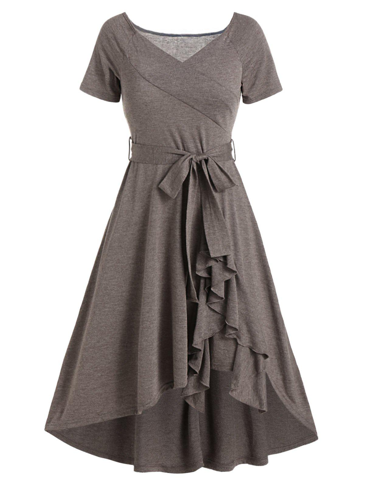 V Neck Belted Flounce Hem High Low Short Sleeve Dress - LIGHT COFFEE M