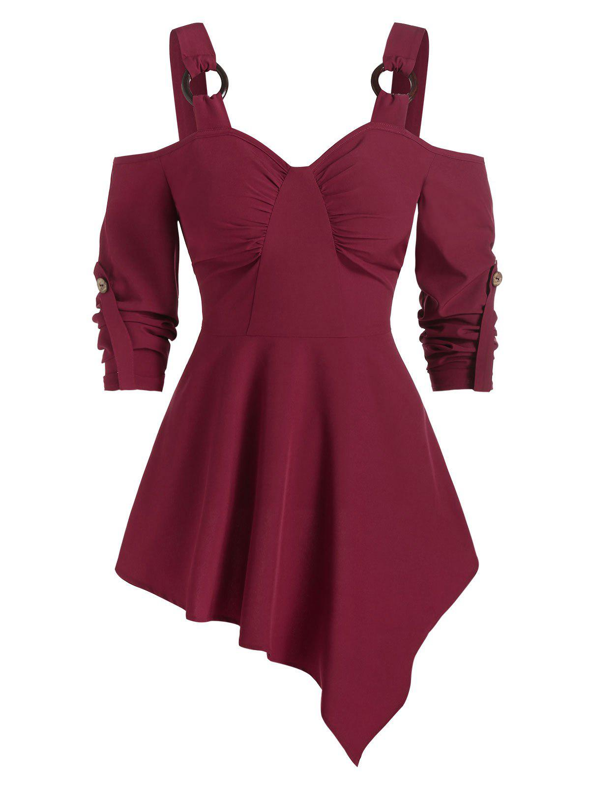 Cold Shoulder O-ring Strap Asymmetric Blouse - RED WINE 3XL