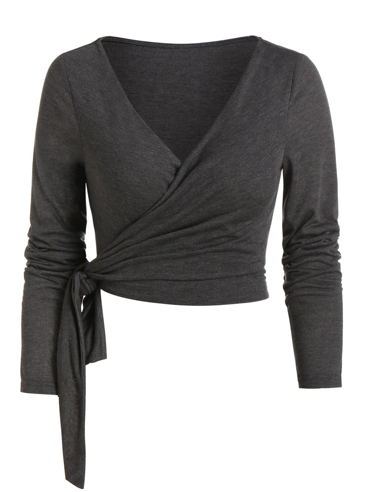 Heathered Knotted Cropped Wrap T-shirt - DARK GRAY M