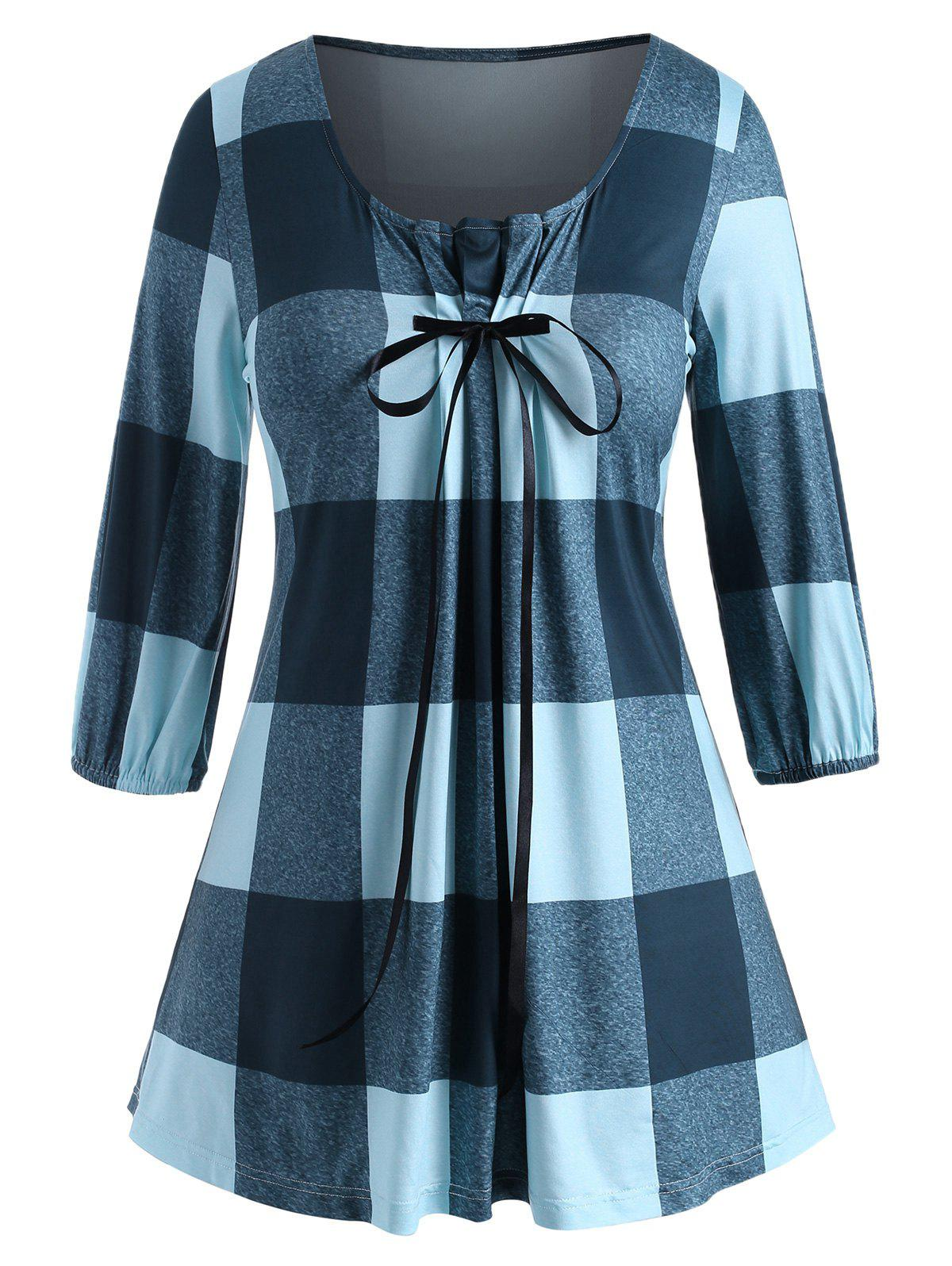 Pleated Panel Bowknot Plaid Plus Size Top - BLUE 2X