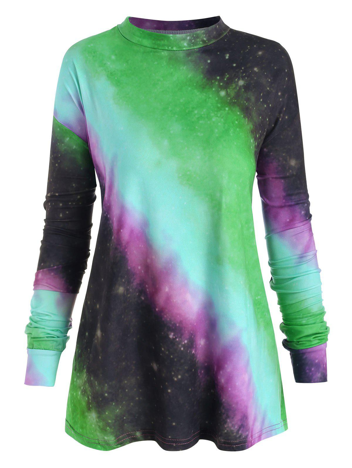 Plus Size Pastel Tie Dye T Shirt - GREEN 5X