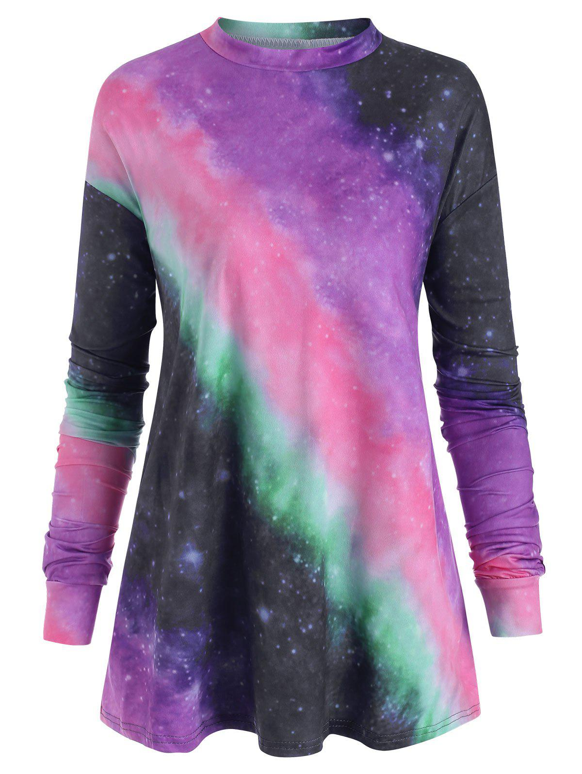 Plus Size Pastel Tie Dye T Shirt - PURPLE 5X