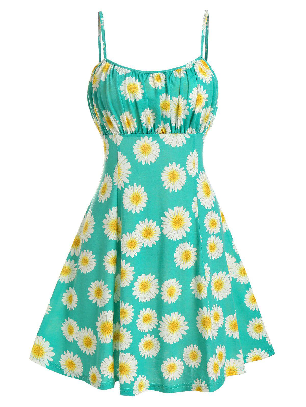 Sunflower Print Ruched Cami A Line Dress - TURQUOISE L