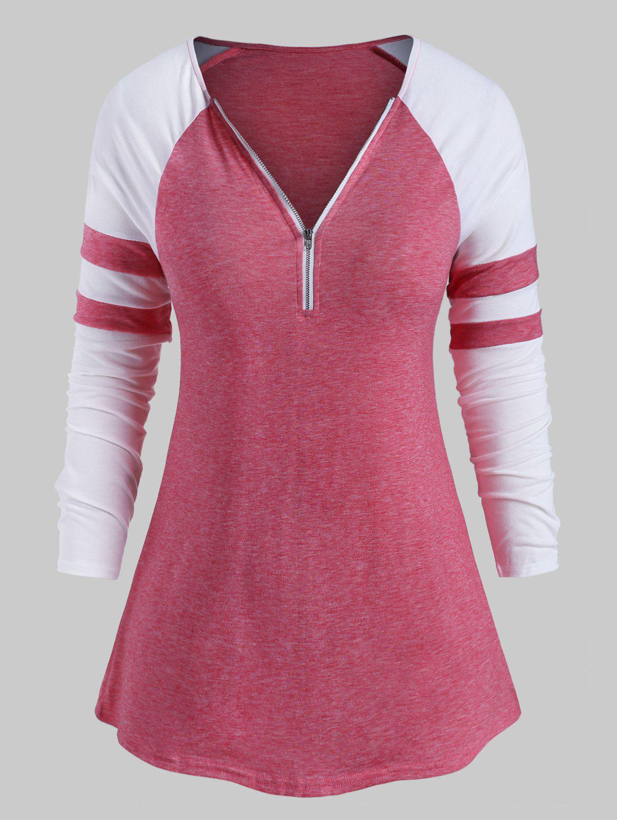 Plus Size Half Zip Two Tone Baseball Tee - LIGHT PINK 5X