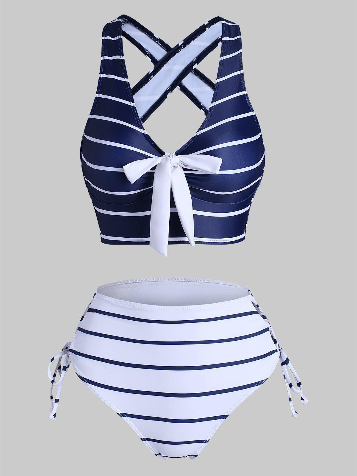 Striped Criss Cross Lace Up Bicolor Tankini Swimwear - DEEP BLUE 2XL