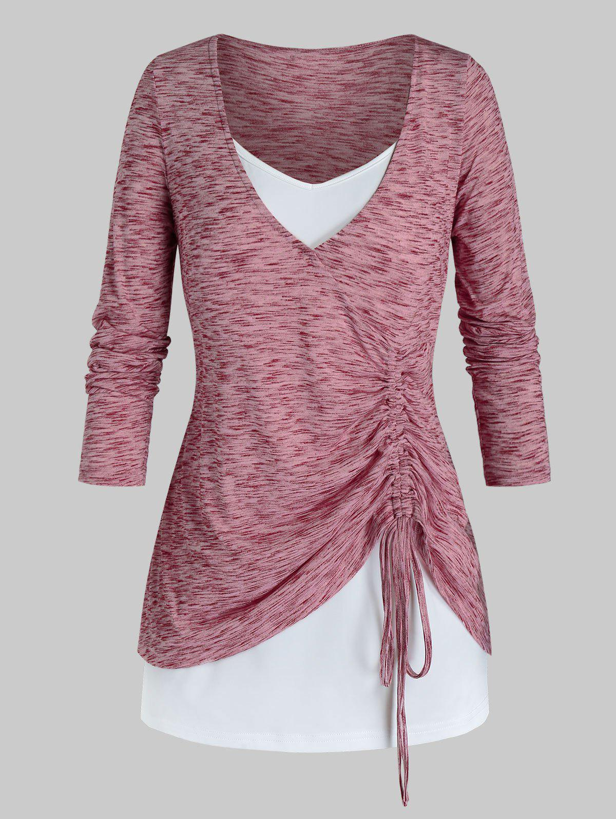 Plus Size Space Dye Cinched T-shirt and Cami Top Set - LIGHT PINK 5X