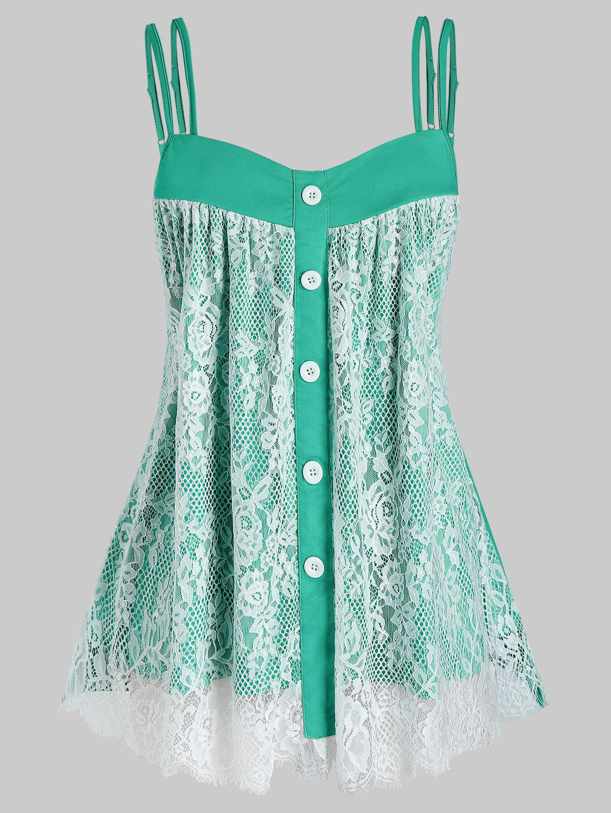 Plus Size Floral Lace Layers Tank Top - DARK TURQUOISE 4X
