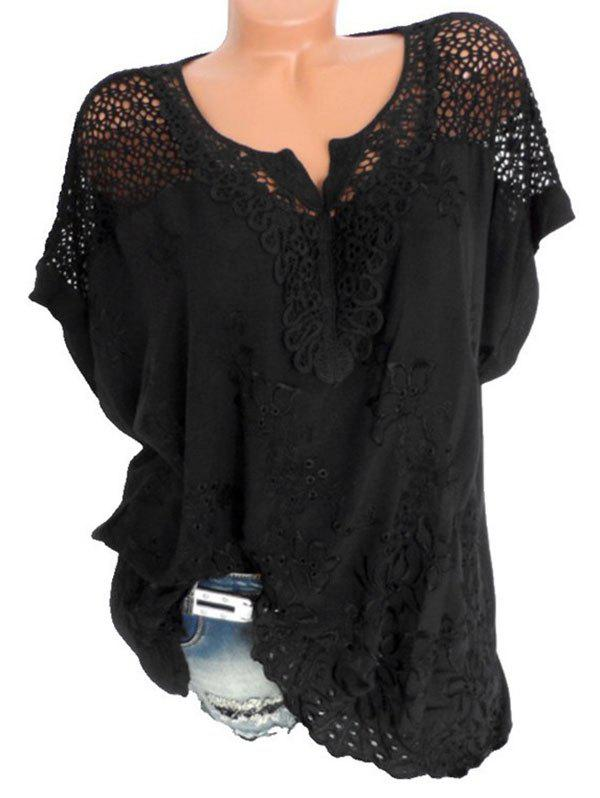 Plus Size Batwing Sleeve Flower Embroidered Blouse - BLACK 2X